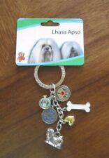 Lhasa Apso Dog Charms Best in Show Bone Ribbon Silver Colored Keychain new W/Tag