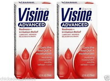 LOT OF 2 VISINE ADVANCED REDNESS & IRRITATION RELIEF EYE DROPS - 1/2 FL. OZ.