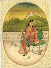 Indian Miniature Mughal Princess Watercolor Painting Handmade Mogul Portrait Art