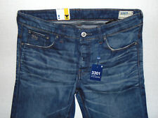 G-Star Raw 3301 Low Tapered Medium Aged W34 L34  Mens Blue Hydrite Denim Jeans