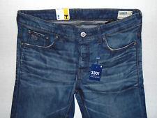 G-Star Raw 3301 Low Tapered Medium Aged W32 L32  Mens Blue Hydrite Denim Jeans