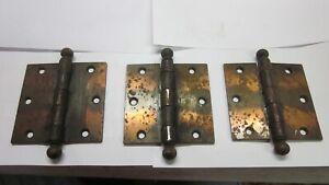 Three matching Antique Vintage 3 1/2  x 3 1/2   Steel Flash  door hinges