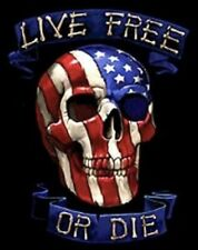 (3) USA Live Free Or Die Skull Red White Blue 4x3 Vinyl Stickers Color Decals