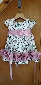 Baby Girls Floral Print Big Bow Frilly Party Dress by Couche Tot Age: 6-9 months