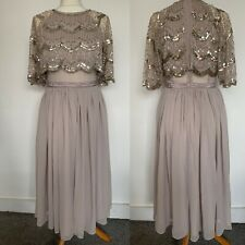 ASOS Party Wedding Guest Midi Dress Chiffon Beaded Embellished Cape Rose 10UK/38