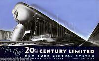 New York Central Train Poster Railroad 20th Century LTD #2 art deco print 1940 L