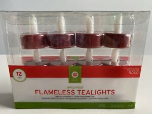 12 Pack of Red FLAMELESS TEALIGHTS Battery Operated New in Box