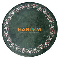 """24"""" Green Marble Coffee Table Top Pink Stone Mother of Pearl Inlay Decors B105"""