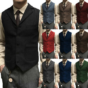 Gromsmen Business Mens Suit Vests Tailored Herringbone Slim Fit Waistcoat V-neck
