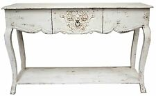 White Carved Timber French Country Shabby Chic Hall Table Console