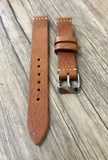 Brown Military White Stitched Watch Strap Band Vintage Leather Handmade 17 mm