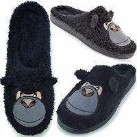 Mens Adults Gorilla Coral Fleece Novelty Mule Cushioned Slippers sizes 7-12 Gift