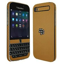 Skinomi Carbon Fiber Gold Skin+Screen Protector for Blackberry Classic Q20