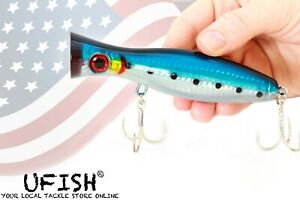 """UFISH Large 5"""" Bass Popper Lure, Fresh & Saltwater Top water lures, Pike Musky"""