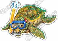 "Baby Sea Turtle Snorkel Cartoon Wildlife Car Bumper Vinyl Sticker Decal 5""X4"""""