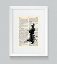 Libro Diccionario Vintage Guerrero Samurai Impresión Pared Arte
