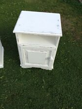 Sturdy Bedside Table/cabinet,refurbed In White Laura Ashley Paint,distressed