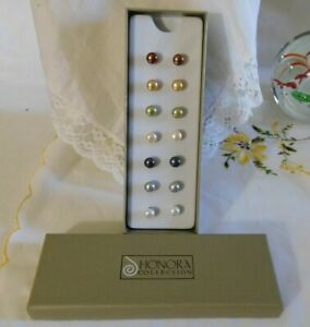 Honora Pearl Earrings Boxed Set of Seven Pairs 925 Sterling Silver Posts NIB