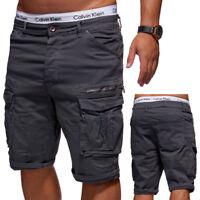 BEHYPE Herren Shorts Jeans-Bermuda Kurze Cargo Hose Dunkelgrau//Schwarz NEU