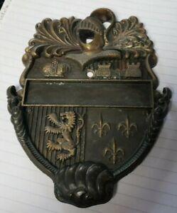 1978 CAVALIER HERALDIC BRONZE DOOR KNOCKER coat of arms, CASTLE, LION,KNIGHT