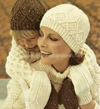 VINTAGE KNITTING PATTERN FOR ARAN STYLE HAT & MITTS / MITTENS - CHILD / ADULT DK