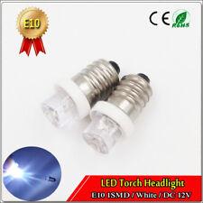 2PCS E10 DC 12V Volt FLOOD Led Light Lamp White Color for Torch Headlight 20lm