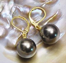 12mm Round south sea shell pearl 14K GP Hook dangle earrings AAA Grade