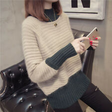 Women's Collared Long Sleeve Mixed Color Sweater Cashmere Blend Tops Coat