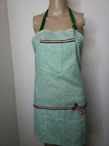Handmade Full Apron Green Check Rainbows Adjustable Straps Pockets