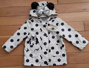 💕 Cute Cream Black Dot Disney Minnie Mouse Raincoat Jacket Age 12 to 18 Months