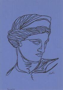original drawing A4 47BJ art samovar ink modern female portrait Signed 2020