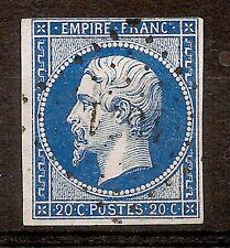 Timbre FRANCE N° 14 20c Bleu Napoleon Empire 1853-60 Oblitéré 2340