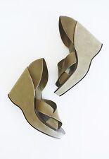 KORK EASE DONNA WEDGES Green Leather Platform Heels Free People Shoes 9 Anthro