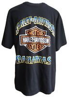 Harley Davidson Mens Size Large Black Tshirt Bahamas Double Sided Graphic Print
