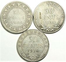 1899 1904 1918 Newfoundland 50 Cents Silver Lot of 3 #11739