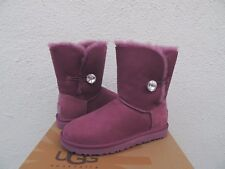 UGG BOUGAINVILLEA BAILEY BUTTON BLING SUEDE/ SHEEPSKIN BOOTS, US 8/ EUR 39 ~NIB