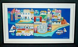 Original George S Hutchinson Acrylic on Canvas Painting of Sidmouth Devon