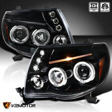 For Jet Black 2005-2011 Toyota Tacoma LED+Dual Halo Projector Headlights L+R
