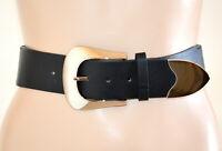 CEINTURE NOIRE femme Boucle argent corset dos élastique cuir écologique belt G42
