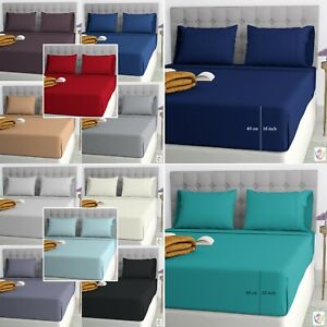 Fitted Sheet 25cm Bed Sheets 100% Poly Cotton Single Double King Super King Size