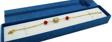 GENUINE RED OPAL & GENUINE JADE ANGEL BRACELET 24K PURE GOLD *FREE SHIPPING*