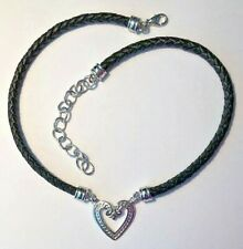 """Premier Designs Jewelry Perfect Harmony 17"""" + 3"""" Necklace Rhodium Heart Leather"""