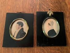 Pair of 1800s Antique Silhouette Folk Art Water Color Paintings in Frame 1827