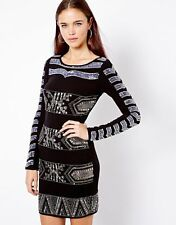 River Island Long Sleeve Embellished Bodycon Dress UK 8/EU 36/US4   zz5