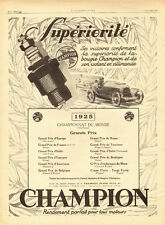 1925 - Bougies CHAMPION Spark Plugs . French Ad, Automobile