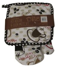 Coffee Cups and Beans Oversized potholder oven mitt set