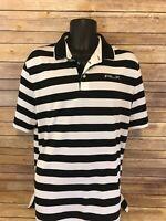 Ralph Lauren Active Short Sleeve Polo Shirt Size Large Mens Black White Striped