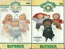 2 sewing patterns Cabbage Patch DOLL CLOTHES Preemie Dress Romper Shirt Overalls