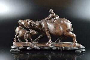 L615: Japanese XF Stone jade/jewels Cattle Person STATUE sculpture Buddhist art