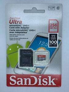 NEW Sandisk 256GB Ultra Microsdxc UHS-I Memory Card with Adapter 100MB/S C10 U1